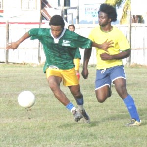 Action in the Greater Bartica/South clash on Sunday at the Bartica Community Centre ground.