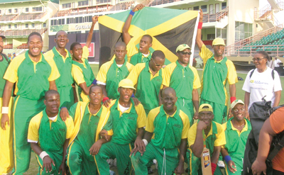 An ecstatic Jamaican team just after they had thrashed Barbados to be declared double champions at the conclusion of the Blind Cricket Competition.
