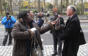 One of Khan's attorneys, John Bergendahl, speak to Guyanese reporters after yesterday's sentencing.
