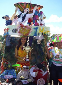 The winning float, depicting the six races, came from the Department of Education, Region Nine.